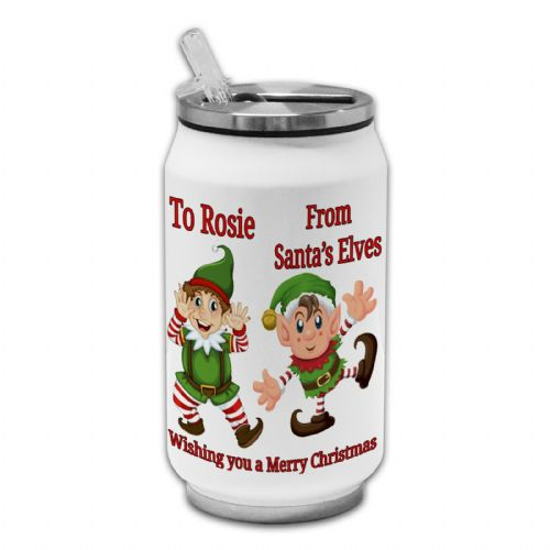 Personalised Any Name From Santa's Elves Novelty Thermos Drinking Can